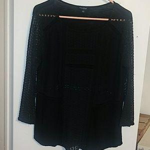 Lucky Brand Woman's Black Semi Sheer Long-Sleeve